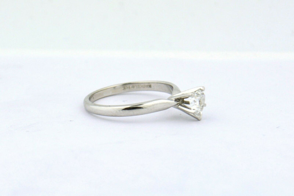 14KW 0.50CT Natural Diamond Heart Solitaire Engagement Ring I1 H 2.3g Size 6.5 - Jewelry Works