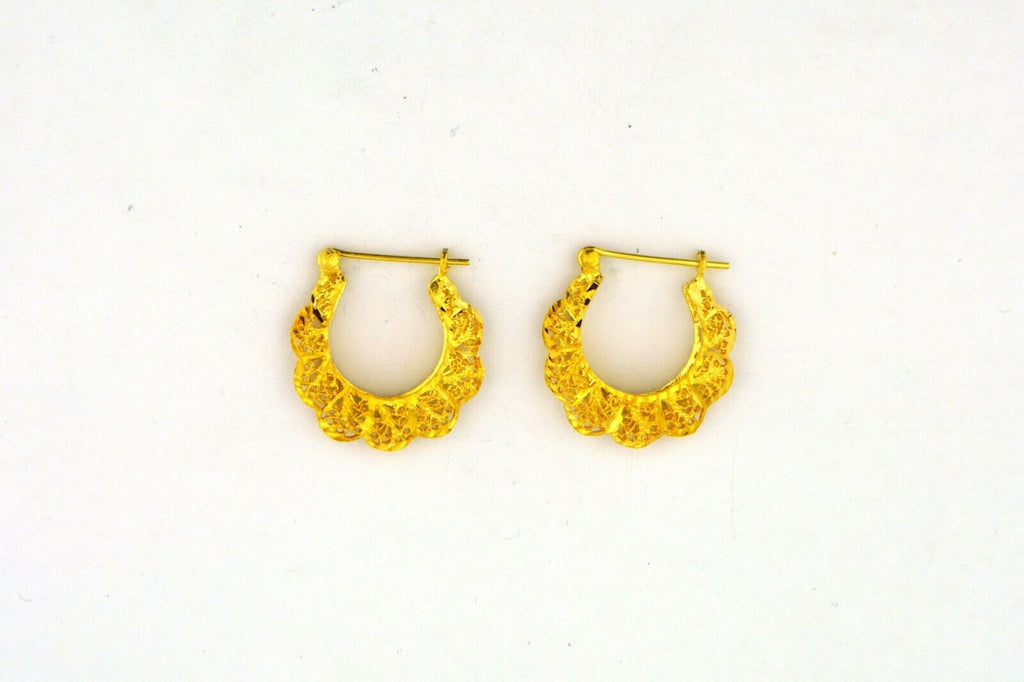 Vintage 14 Karat Yellow Gold Open Filigree Hoop Earrings 3.3G 20X20X5MM - Jewelry Works
