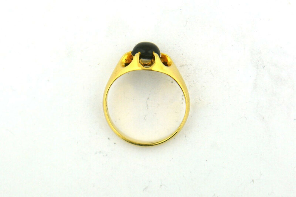 14K Yellow Gold 2.5CT Round Black Star Sapphire Ring Size 9.5 6.4G - Jewelry Works