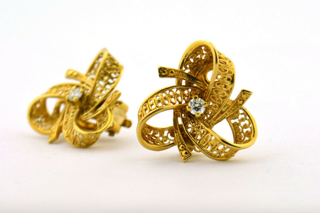 Vintage Mid Century Diamond Bow 14K Yellow Gold Filigree Earrings VS F .18cttw - Jewelry Works