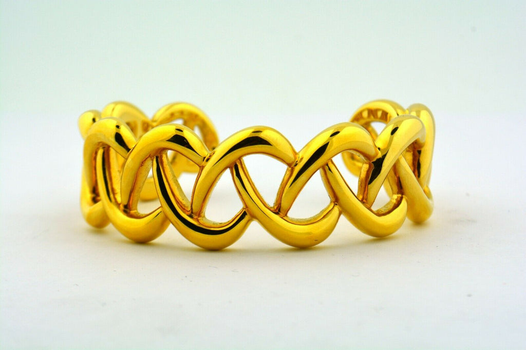 14KY Gold 23MM Electroform Hollow Criss Cross Pattern Bangle Bracelet 13.3g - Jewelry Works
