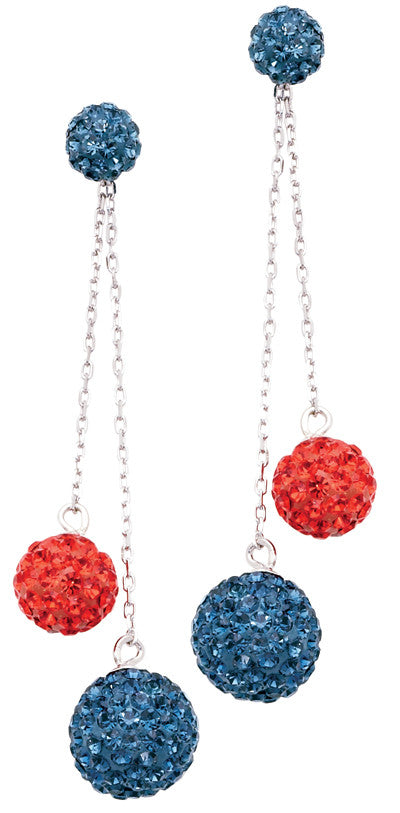 Orange & Blue Crystal Dangle Earrings - Jewelry Works