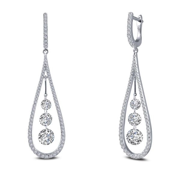 Drop Earrings with Three Lassaire Simulated Diamonds 8E024CLP - Jewelry Works
