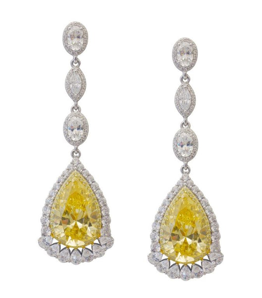 Canary Simulated Diamond Drop Earrings 8E025CAP - Jewelry Works