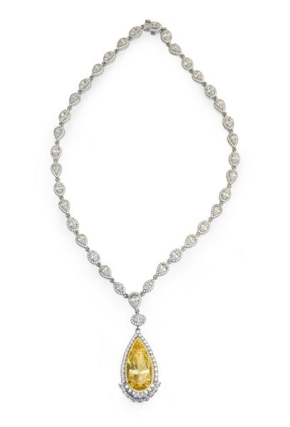 8N002CAP Regal Simulated Canary Diamond Statement Necklace - Jewelry Works
