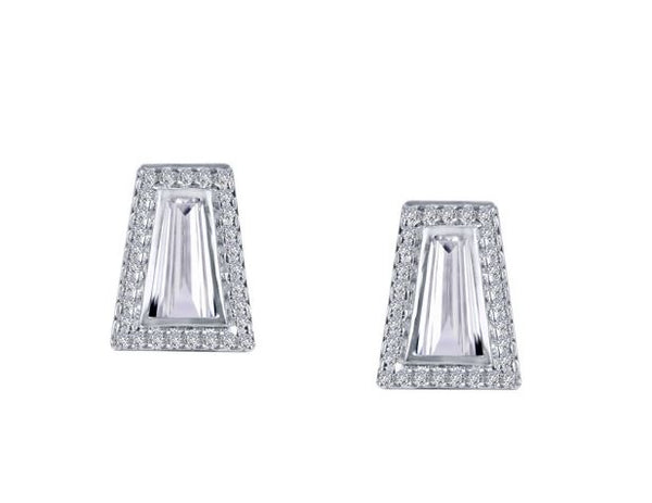 Bezel Set Baguette Earrings 9E080CLP