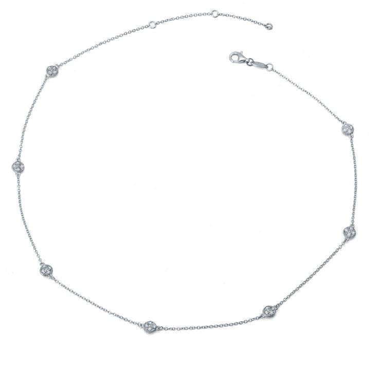 9N014CLP Simulated Diamond Dot Necklace