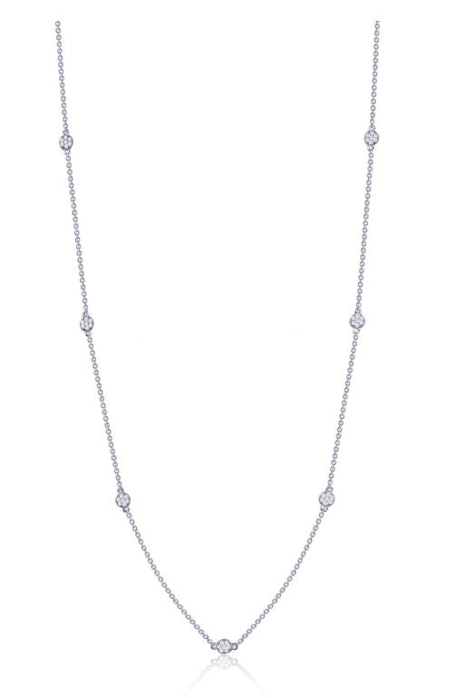 9N020CLP Long Simulated Diamond Dot Necklace - Jewelry Works