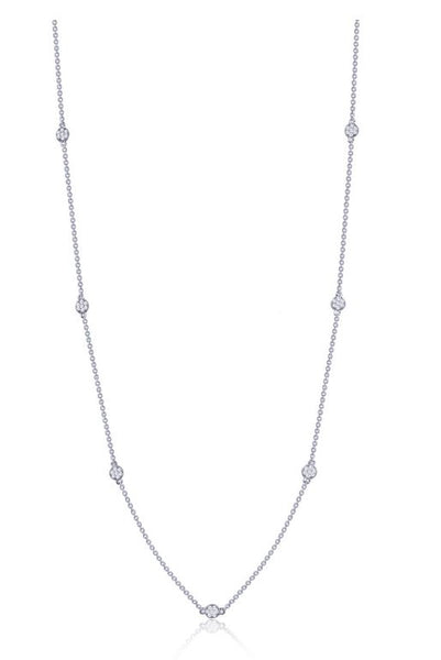 9N020CLP Long Simulated Diamond Dot Necklace