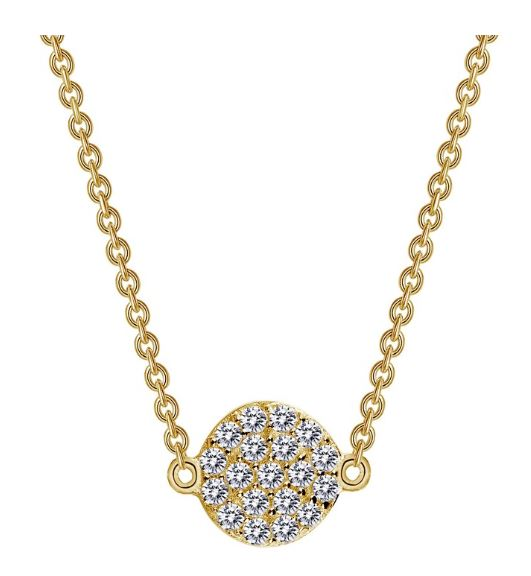 9N022CLG Gold Plated Simulated Diamond Circle Necklace