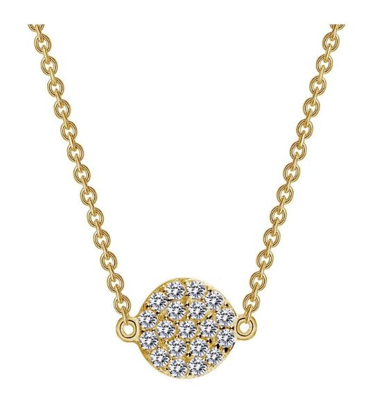 9N022CLG Gold Plated Simulated Diamond Circle Necklace - Jewelry Works