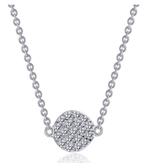 9N022CLP Simulated Diamond Circle Necklace
