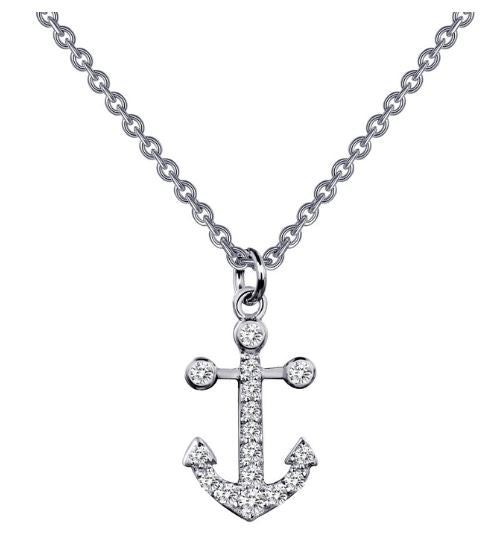 9N024CLP Anchor Simulated Diamond Necklace