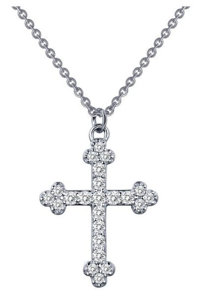 9N025CLP Cross Simulated Diamond Necklace