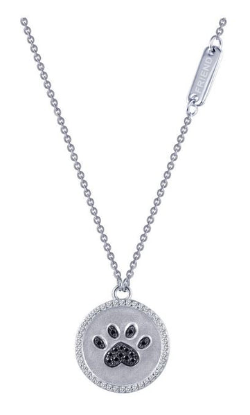 9N027CBP Paw Print Simulated Diamond Necklace - Jewelry Works
