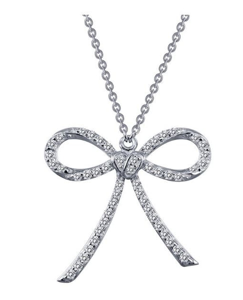 9N053CLP Simulated Diamond Bow Necklace