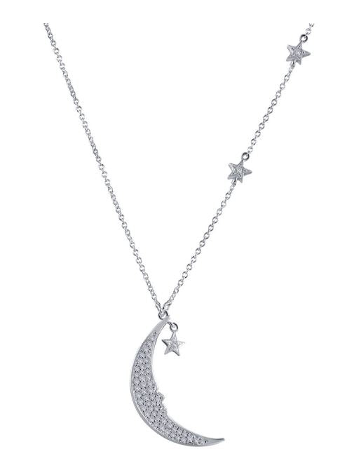 9N079CLP Star and Moon Necklace - Jewelry Works