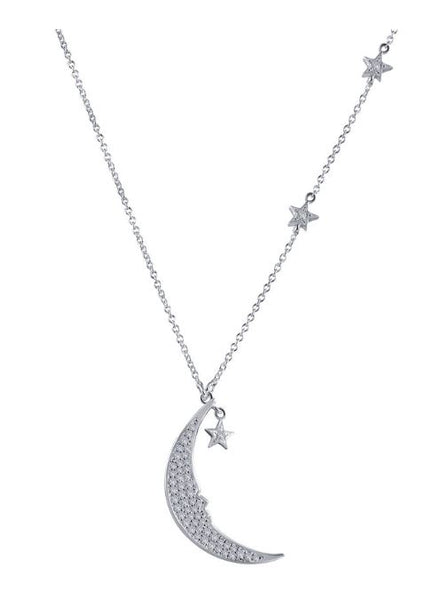 9N079CLP Star and Moon Necklace