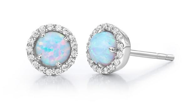 Simulated Opal Halo Earrings BE001OPP - Jewelry Works