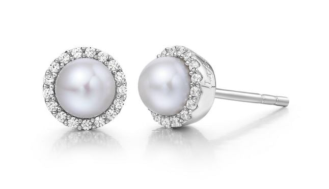 Freshwater Pearl and Simulated Diamond Earrings BE001PLP - Jewelry Works