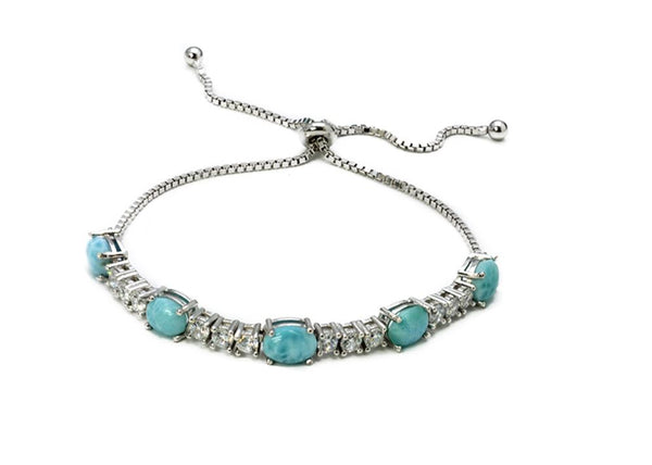 Larimar 8X6mm Slider Tennis Bracelet (Adjustable)