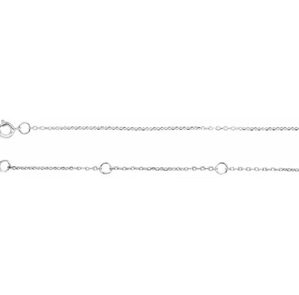 "Rhodium-Plated Sterling Silver 1 mm Adjustable Diamond-Cut Cable 16-18"" Chain"
