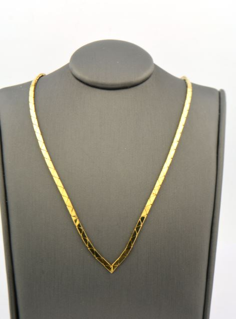 "14K Yellow Gold 17IN ""V"" Necklace 10.9G - Jewelry Works"