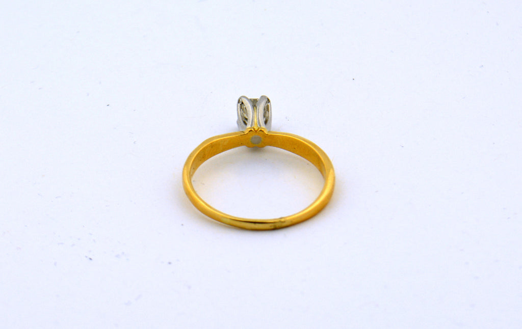 18K Yellow Gold with Platinum Tulip Head Princess Cut Diamond Solitaitre .60ct - Jewelry Works