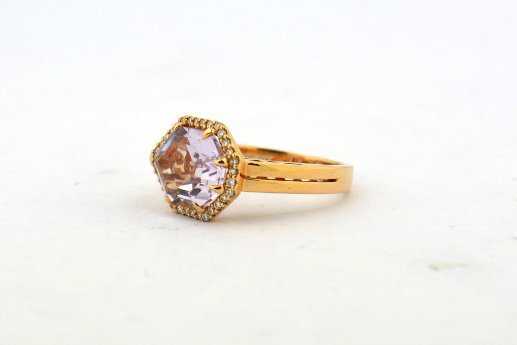 Unique 14K Rose Gold 3.79CT Custom Cut Pink Amethyst Ring 0.16CTTW Diamond Halo - Jewelry Works