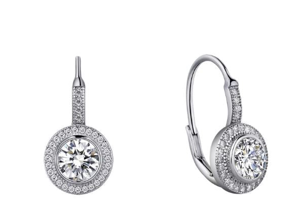 Halo Round Drop Earrings Simulated Diamonds E0003CLP - Jewelry Works