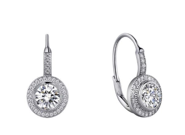 Halo Round Drop Earrings Simulated Diamonds E0003CLP