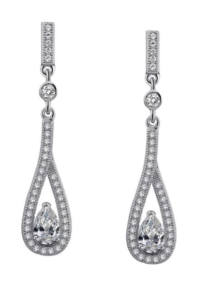Pear Drop Earrings Simulated Diamonds E0018CLP - Jewelry Works
