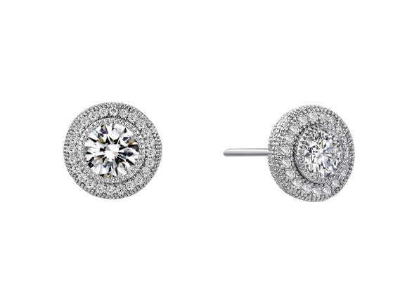 Halo Post Round Earrings Simulated Diamonds E0035CLP - Jewelry Works