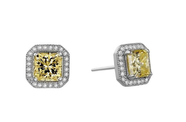 Princess Cut Simulated Canary Diamond Halo Post Earrings E0038CAP