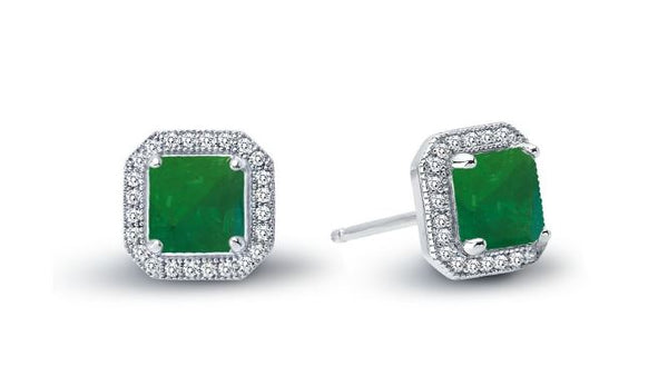 Simulated Emerald Halo Post Earrings E0038CEP