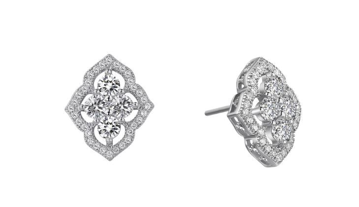 Vintage Style Simulated Diamond Earrings E0039CLP - Jewelry Works