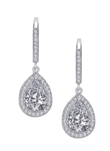 Simulated Diamond Pear Earrings E0074CLP