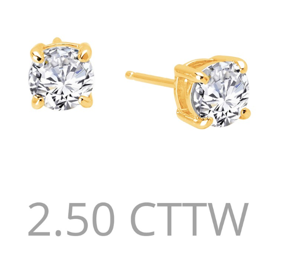 2.5 cttw Simulated Diamond Post Earrings - Jewelry Works
