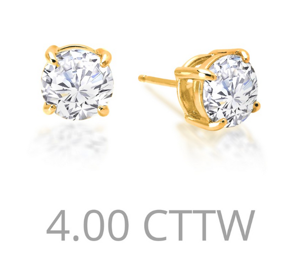 4 cttw Simulated Diamond Post Earrings - Jewelry Works