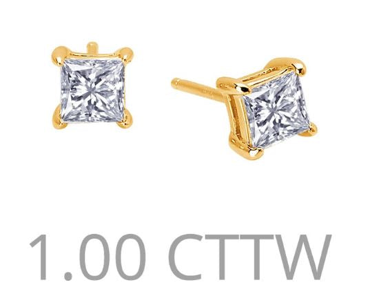 1 cttw Simulated Diamond Princess Cut Post Earrings - Jewelry Works