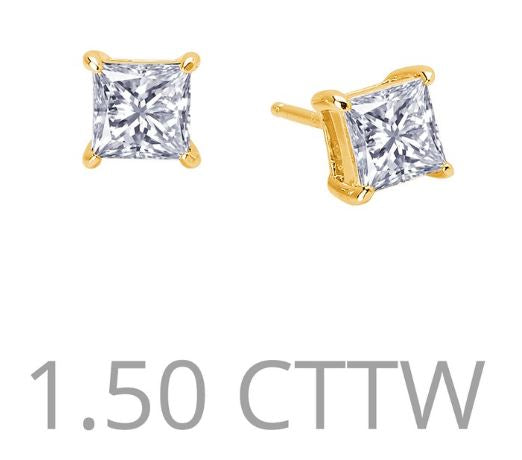1.5 cttw Simulated Diamond Princess Cut Post Earrings - Jewelry Works