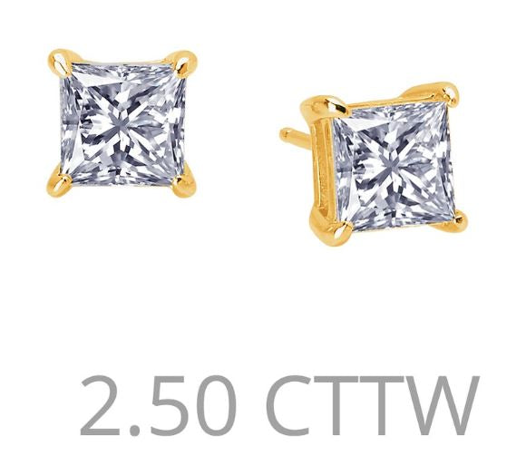 2.5 cttw Simulated Diamond Princess Cut Post Earrings - Jewelry Works