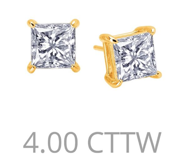 4 cttw Simulated Diamond Princess Cut Post Earrings - Jewelry Works