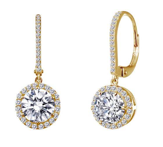 Simulated Diamond Halo Drop Earrings