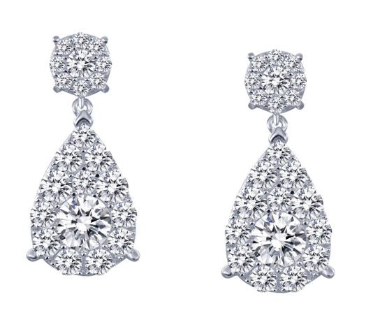 Simulated Diamond Cluster Pear Drop Earrings E0194CLP