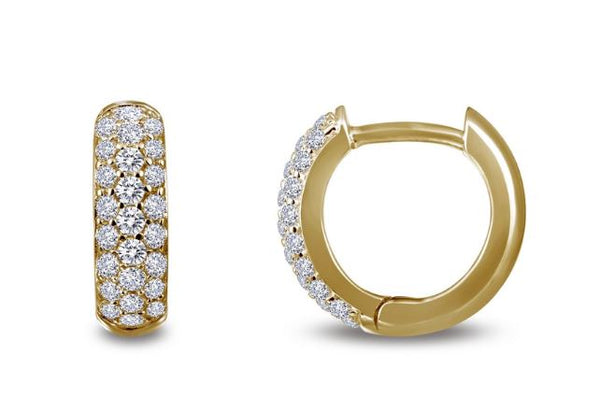 Simulated Diamond Huggie Hoop Earrings E0199CLG