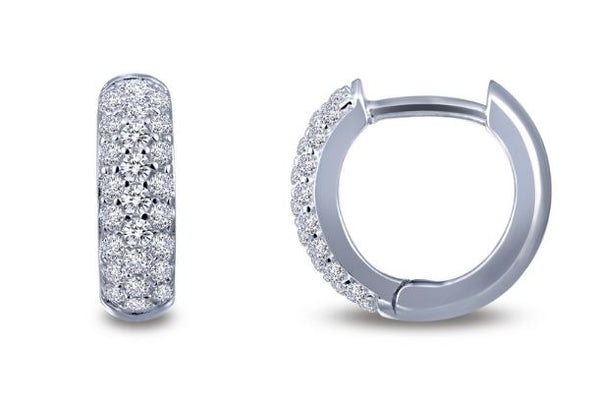 Simulated Diamond Huggie Hoop Earrings E0199CLP