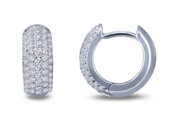 Simulated Diamond Wide Huggie Hoop Earrings E0200CLP