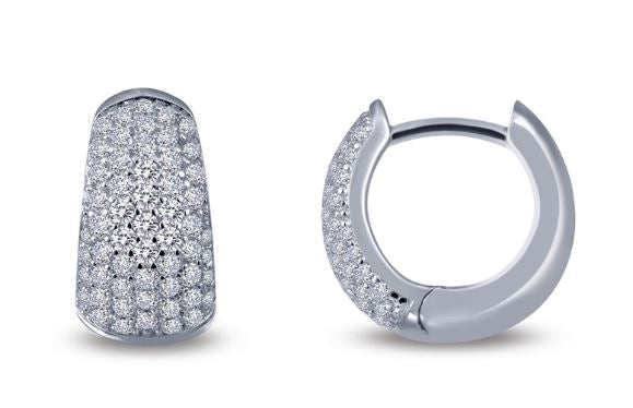 Simulated Diamond Tapered Huggie Hoop Earrings E0202CLP