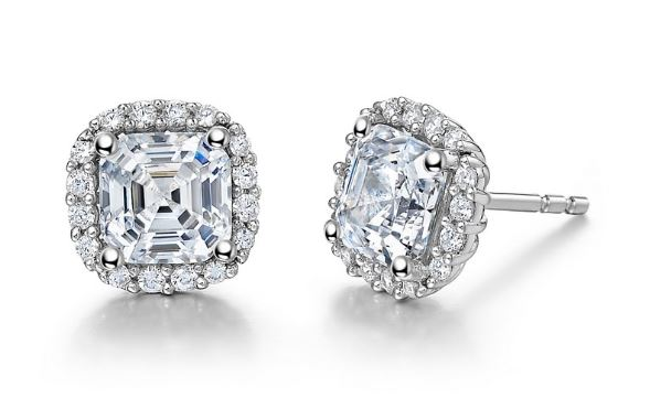 Simulated Diamond Asscher Cut Halo Earrings E0222CLP - Jewelry Works